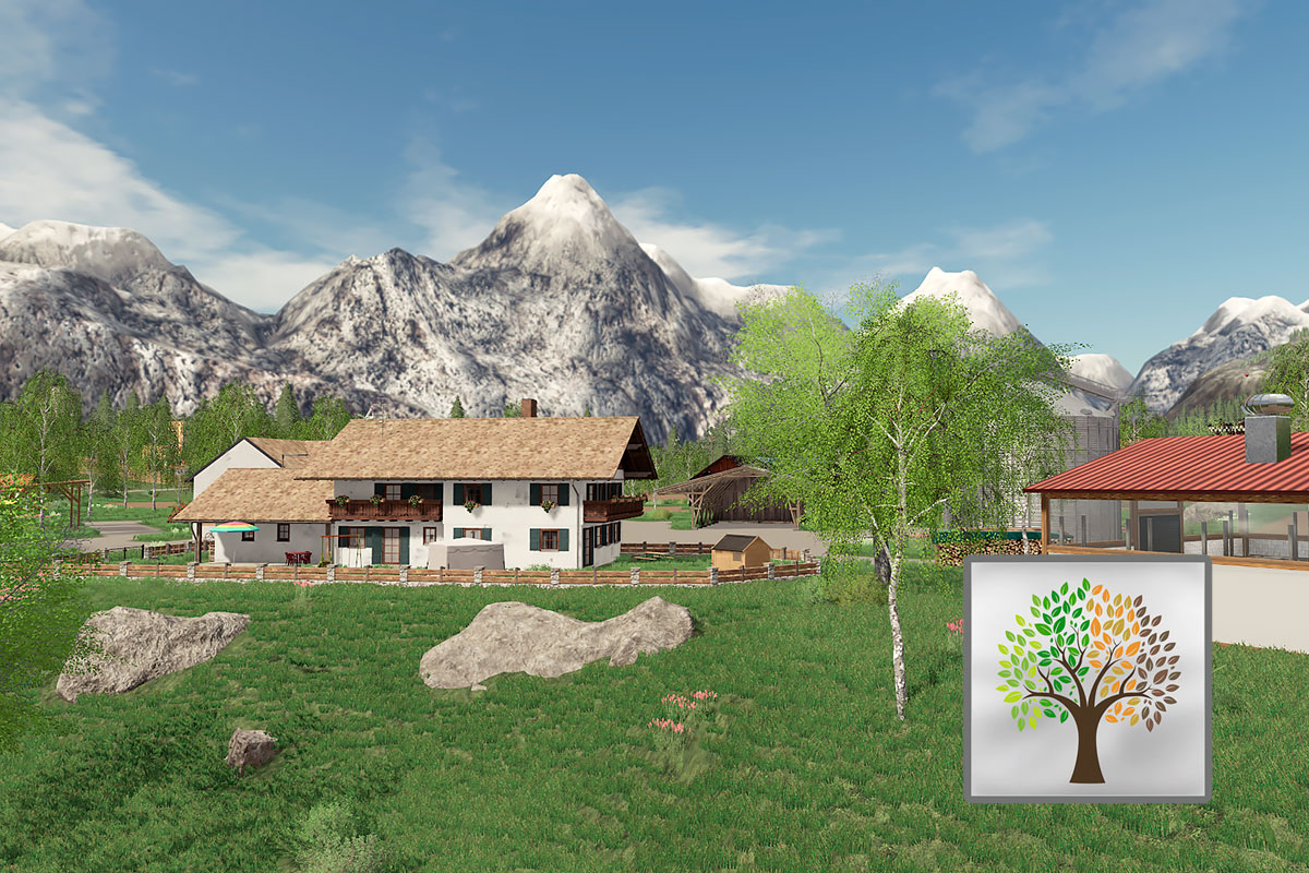 Parts of the main farm at the Felsbrunn edit by MC map, with the Seasons 19 logo in front