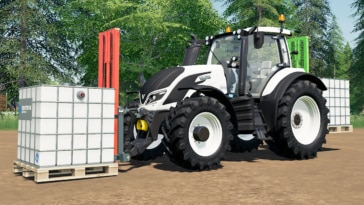 A Valtra tractor with two attachable forklifts (Farming Simulator 19 mod)