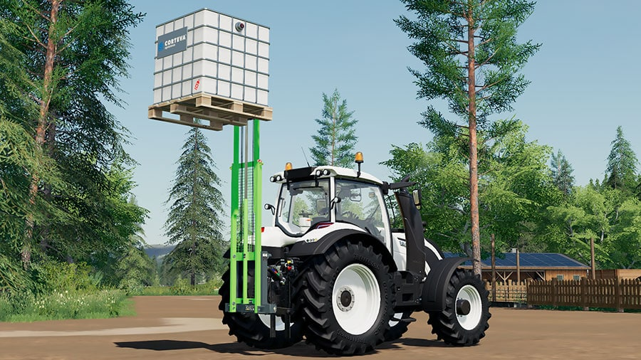 This image demonstrates the vertical reach of the forklift