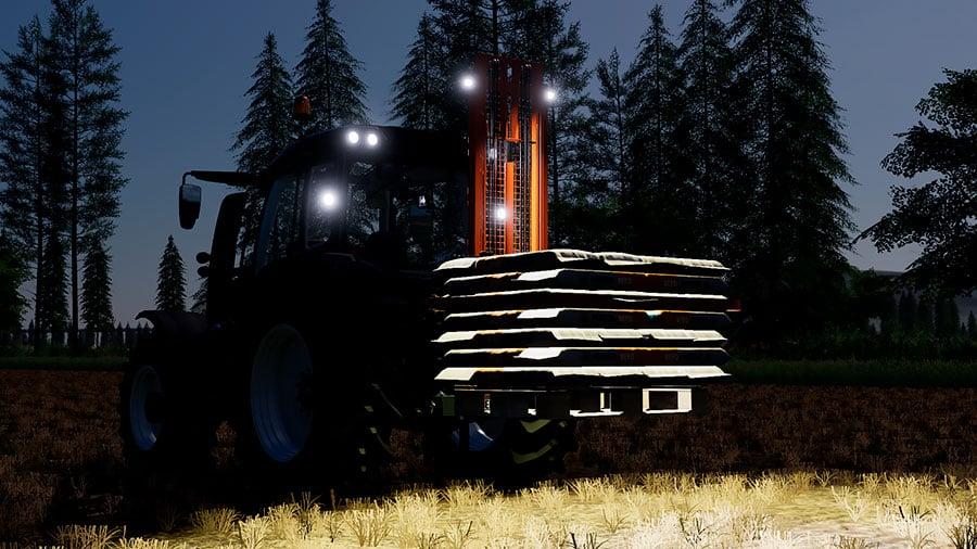 The forklift's work light in the dark