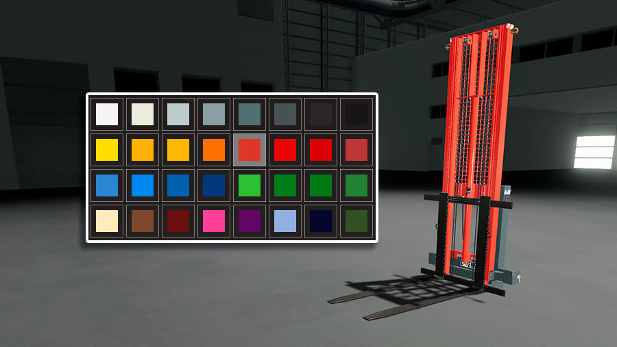 The many color options for the forklift's frame