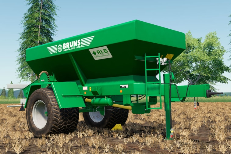 A close up of the Bruns lime and fertilizer spreader for Farming Simulator 19