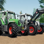 Close up of two Fendt 800 Vario TMS tractors, one green and one black