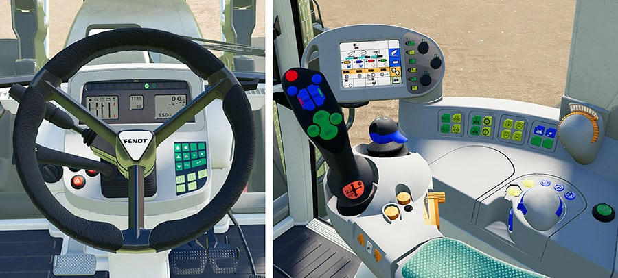 The interior of the Fendt 800 Vario TMS tractor