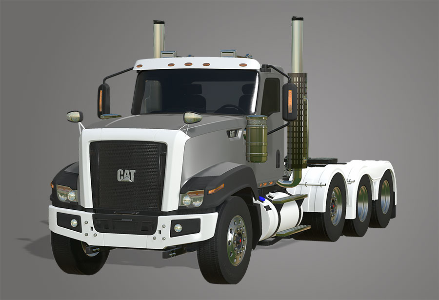 A close up of the Cat CT680 FS19 mod