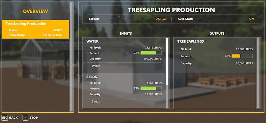 Screenshot of the GlobalCompany menu for the tree nursery