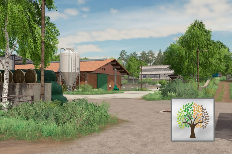 The main farmyard on the Hof Bergmann map with the Seasons 19 logo