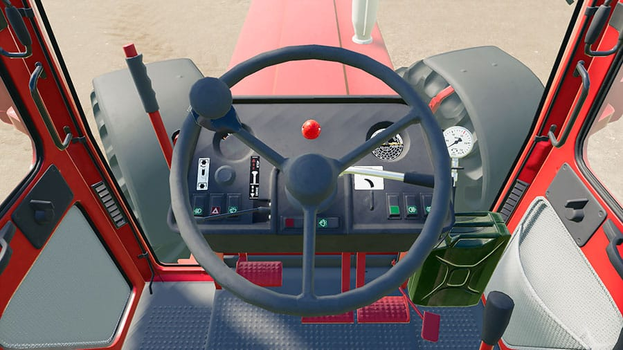 The driver's perspective of an IH C-Series tractor