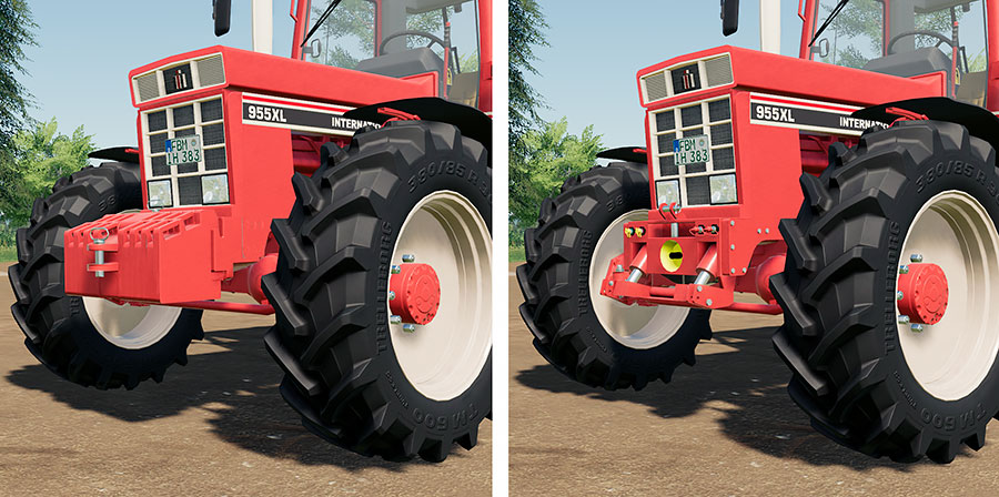 Two of the front options with the International Harvester C-Series mod (weights and 3-point hitch/PTO)