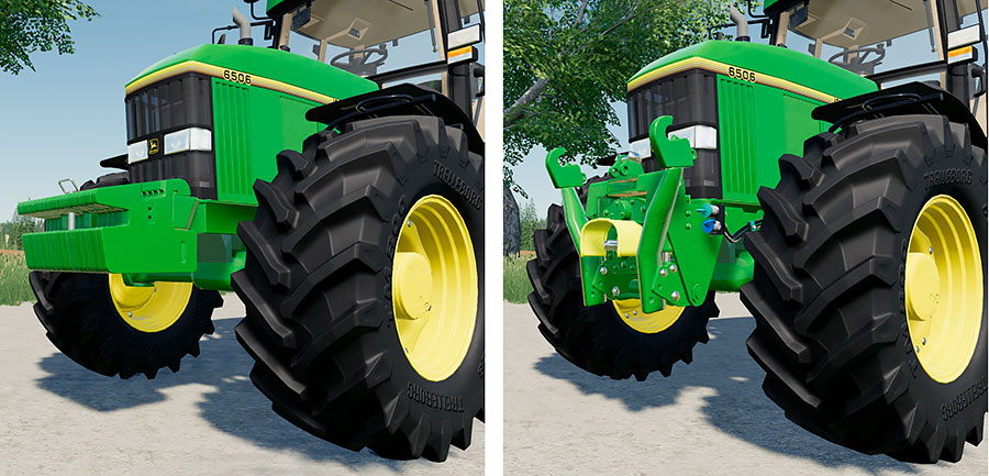 A demonstration of the various front options available for the John Deere 6000 Premium. The the left, 3-point hitch and PTO, to the right, weights.