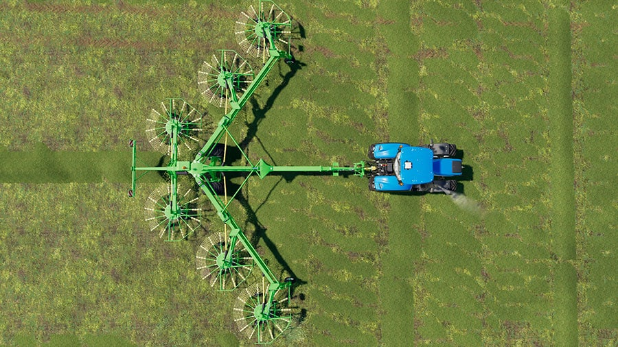 A birds-eye view of the Krone Swadro 2000, demonstrating the working width