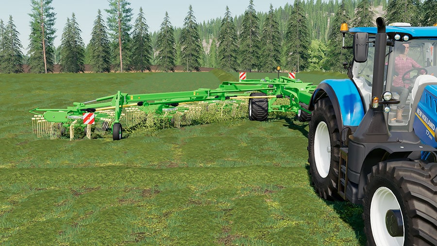 The Krone Swadro 2000 working in the field, collecting grass