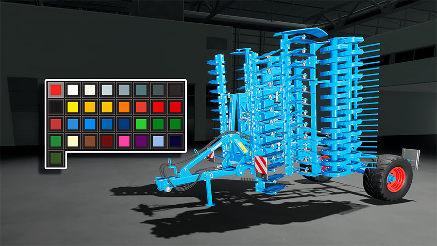 The many color options for the rims of the Lemken Heliodor 9/600