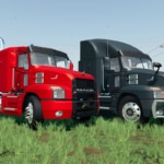 A close up of two versions of the Mack Anthem truck mod for FS 19, one black, one red