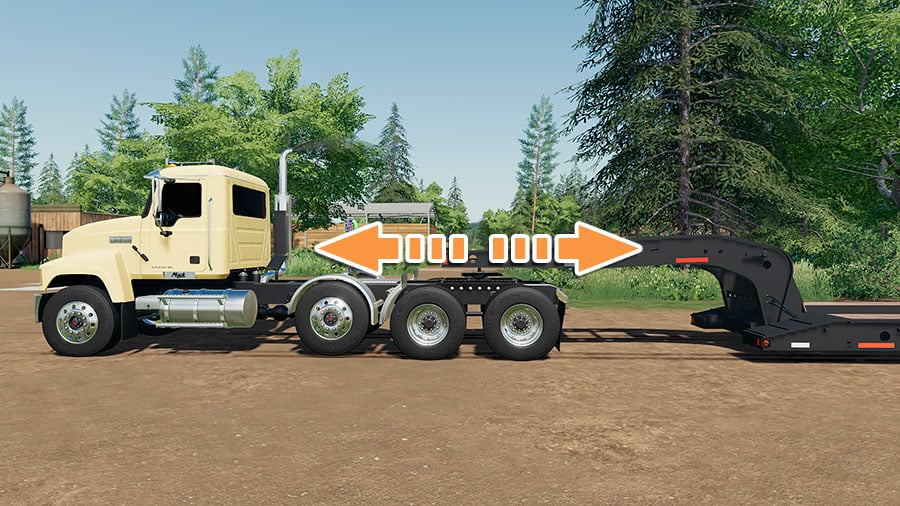 A Mack Pinnacle semi truck illustration of how the 5th wheel adjustment works in FS 19