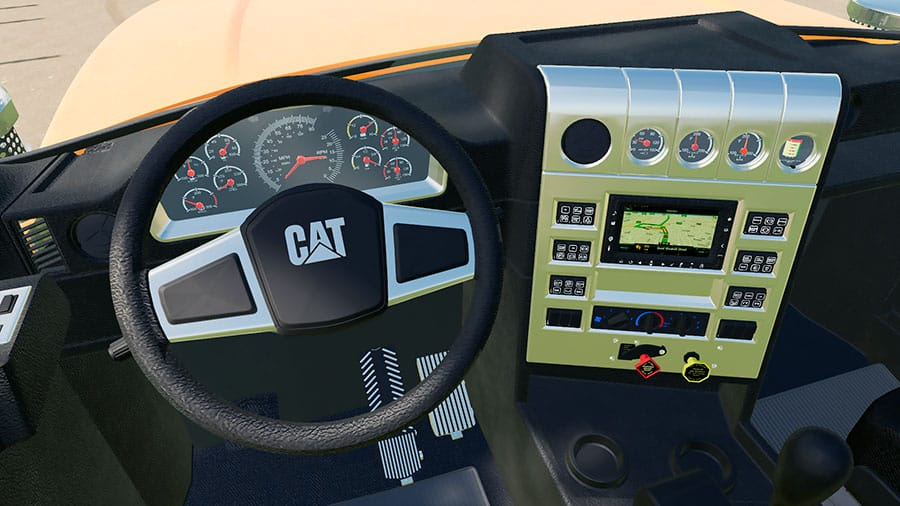The interior of the Cat CT680 from the driver's perspective