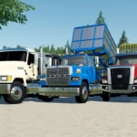 A close up of the Mack Pinnacle, Cat CT680, Ford LTL 9000 truck mods for Farming Simulator 19