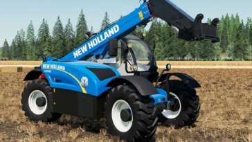 A close up of the New Holland LM 7.42 telehandler mod for Farming Simulator 19
