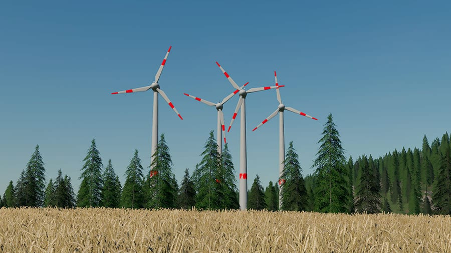 A demonstration of the asynchronous rotation when several wind turbines are placed close