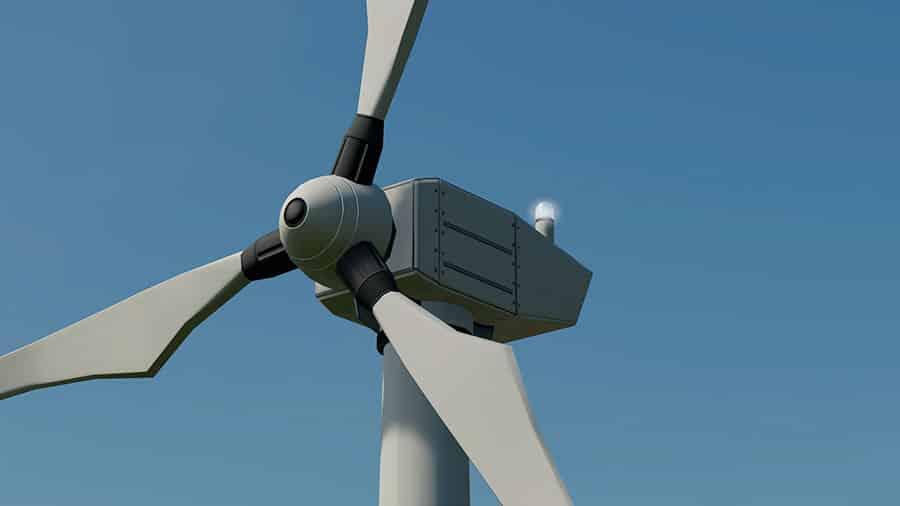 Close up of the large wind turbine