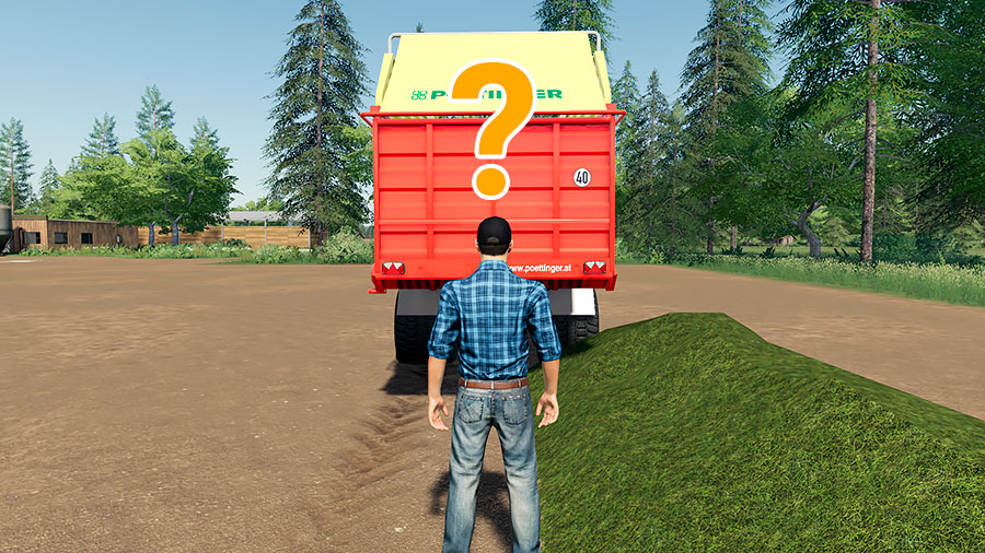A demonstration of the unloading bug with the heap to right of the trailer