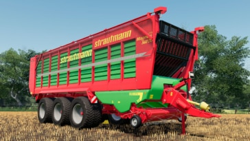 A close up of the Strautmann Magnon 560 DO self-loading forage trailer