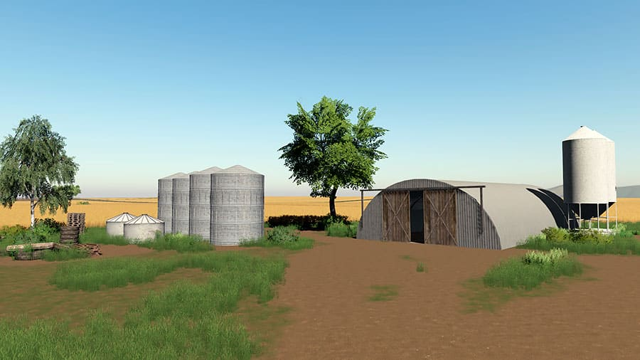 Old style silos and a quonset shed