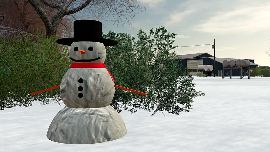 A snowman in front of the Welker Farms main area