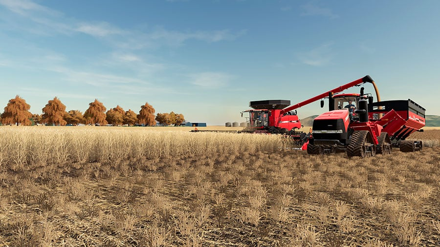 A Case IH combine and a Case IH tractor during harvest