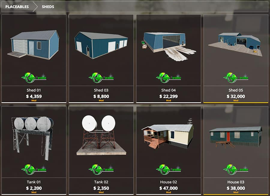 Some of the custom-made, placeable objects available with the Welker Farms map