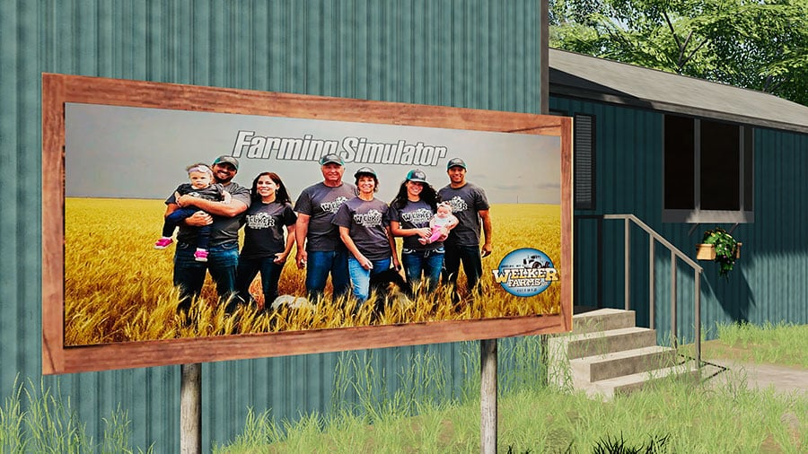 A sign outside the farm house showing the Welker family in front of the Farming Simulator logo