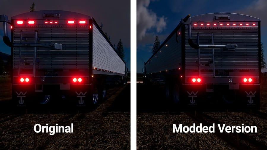 A comparison of trailer lights. Giants original version versus the modded version