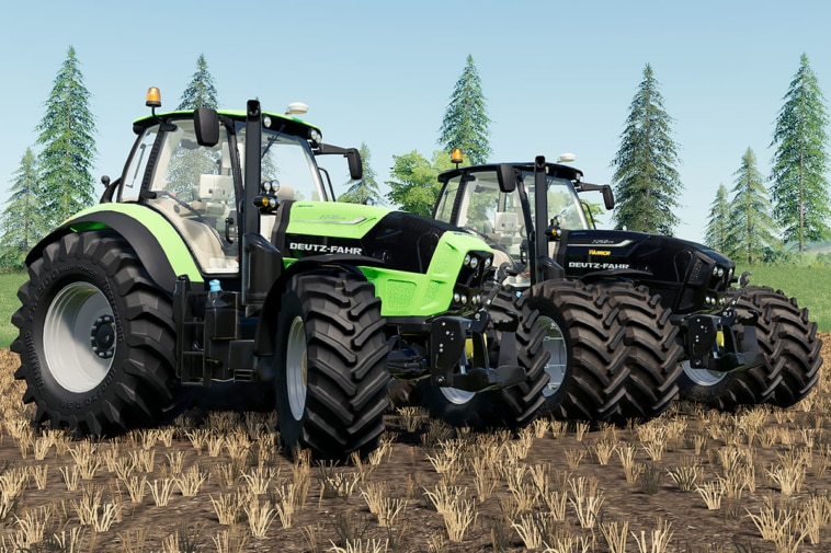 Two versions of the Deutz-Fahr Agrotron TTV 7 addon. One is green, the other one is black.